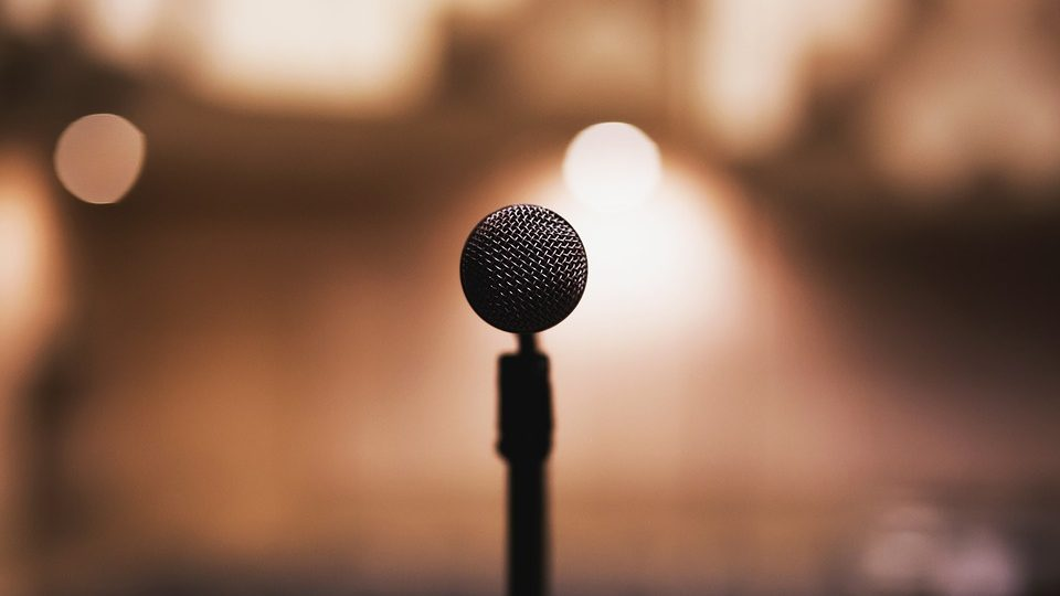microphone colourful background