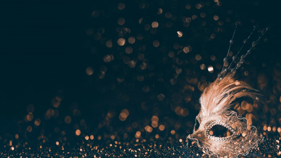 Luxury,Venetian,Mask,On,Dark,Godlen,Bokeh,Background.,New,Year